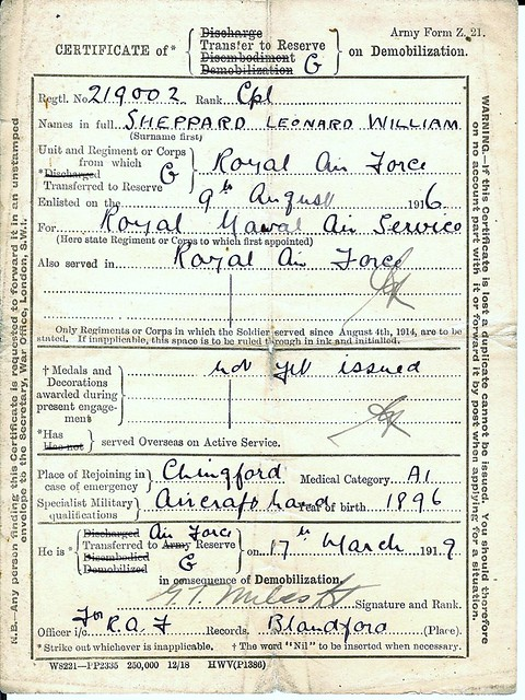 My Grandfathers enrolment /reserve papers