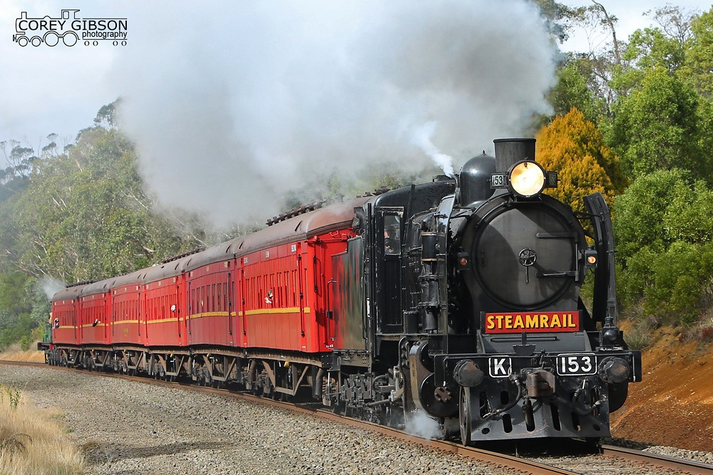 K153 heads back towards Navigators with the Ballarat Steam Shuttle. by Corey Gibson