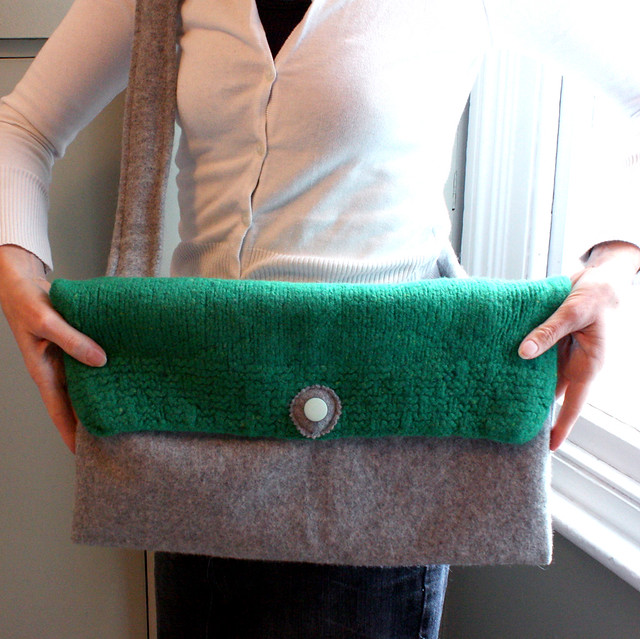 Knitted cross body messenger bag green wool and grey flannel