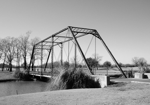Relocated Pratt Truss Bridge, Battleground at Deer Park Golf Course, Deer Park, Texas 0206101414BW | by Patrick Feller