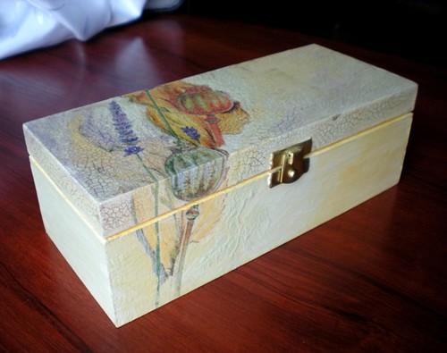 Wooden box,poppies calm,decoupage,artgift,1