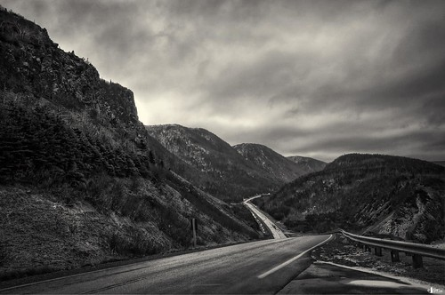 road bw canada mountains novascotia d70s capebreton stormyweather cabottrail cs4 photomatix thehighlands hdr3ex niksfilters