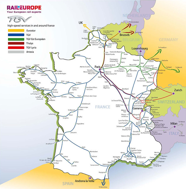 Map Of Trains In France.Map Of The High Speed Rail Network Tgv France Train Char Flickr