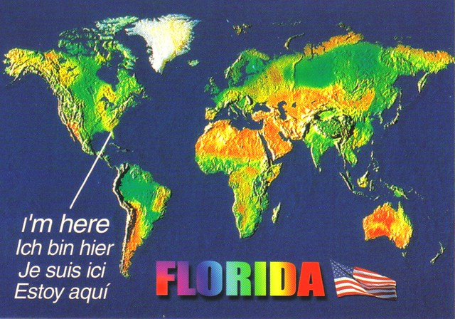 Florida On The World Map.I M Here Florida World Map Postcard Available Erin Flickr