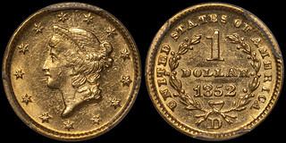 1852-D Gold $1.00 PCGS MS61 CAC | by RareGoldCoins.com