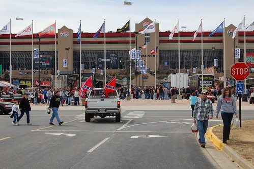 people racetrack truck entrance flags stop nascar raceday atlantamotorspeedway confederateflags