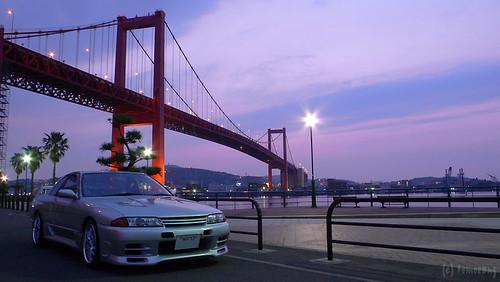 bridge sunset car skyline lumix nissan panasonic lx1 fukuoka 車 kitakyushu r32 夕焼け 福岡 スカイライン dmclx1 日産 北九州 tobata wakato 若戸大橋 戸畑