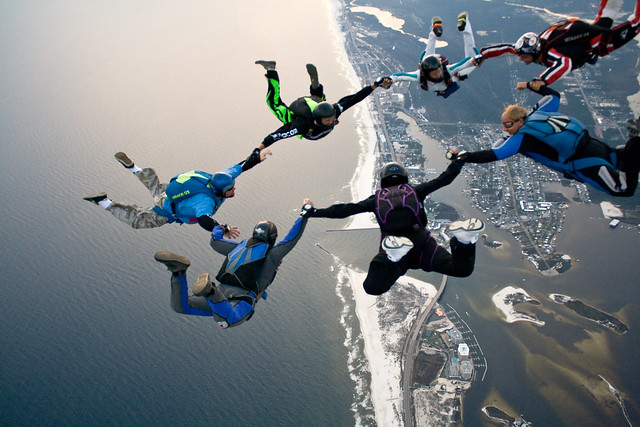 Skydiving Nov 2009', beach jump 7-way over the Florabama (Hushpuppy anchor)