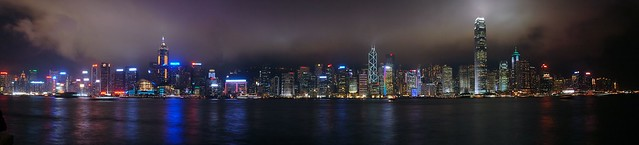 Hong Kong - Skyline Night Panorama