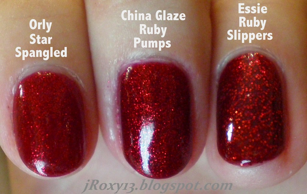 Ruby Red Glitter Comparison (Orly Star Spangled vs. China … | Flickr