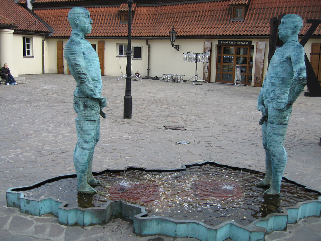 Prague - Peeing Statues   They're also mechanical and move