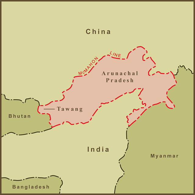 A Map Of The Border Dispute Between India And China Over A