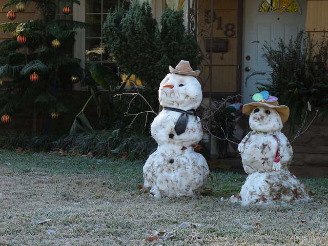 Houston Texas Winter Snow Two snowmen standing in yard  December 4 2009 during and after the snow fall  IMG_2246