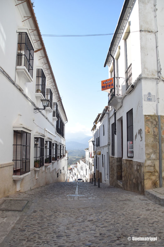 Valkoisten talojen reunustama katu Rondassa