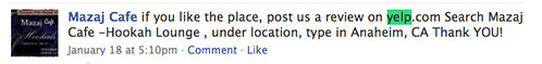 Asking for Yelp Reviews on Facebook