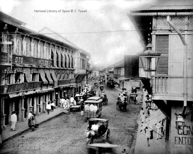Calle Escolta, looking in the direction of Santa Cruz Church, Manila, Philippines, 1885