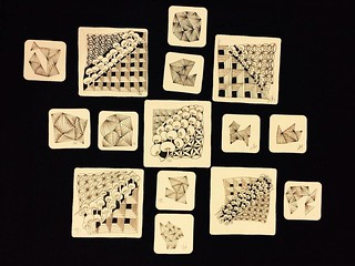 "Beautiful tiles from this evening's ""Beyond Basics: Shades of Grey"" class in Windsor, Ontario. #zentangle #tangle #tangling #czt #laurelreganczt #art #classes #artclass #artclasses #draw #drawing #windsor #ontario #yqg 