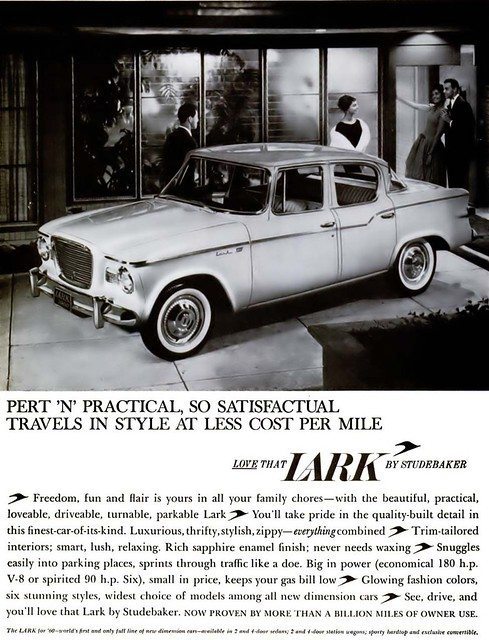 Lark Automobile by Studebaker Advertisement - Ebony Magazine, March, 1960