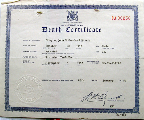 JSB Cheyne death certificate | by crabchick
