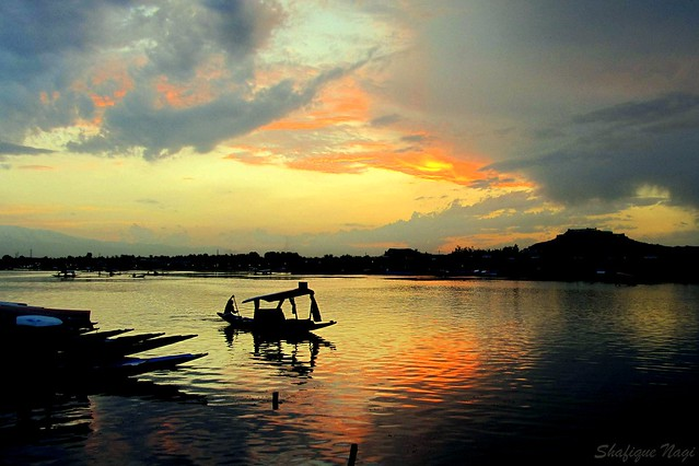 DUSK AT DAL LAKE, SRINAGAR, KASHMIR.
