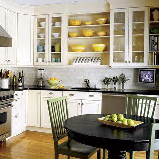 black white yellow kitchen