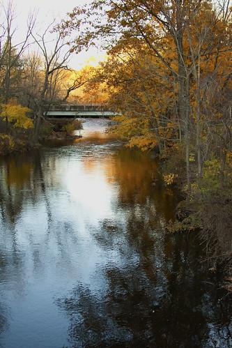 bridge blue autumn orange reflection tree fall leaves yellow pennsylvania bushkillcreek bej canoneos50d jacobsburgstatepark ubej tinybitofgreen