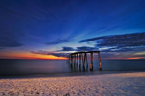 ocean statepark longexposure blue sunset beach stars star evening coast pier sand nikon glow gulf florida decay sandy footprints shore hour fl panhandle 2010 cto d300 sb800 floridapanhandle strobist camphelen superaplus aplusphoto tokina1116