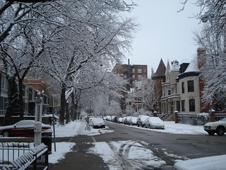 Snow on Dorchester north of 52nd | by Eric Fischer