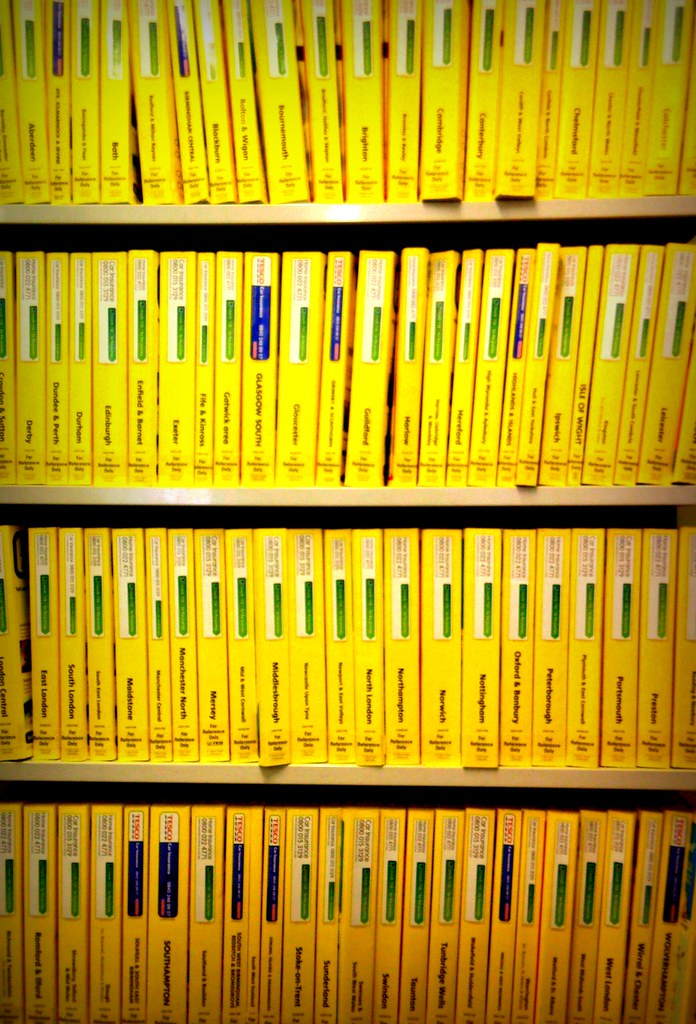 Yellow pages. And so many of them.