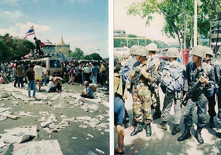 Thai Protests in May 1992 in Bangkok near the Democracy Monument