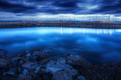 blue sunset sky water clouds washington pond rocks explore frontpage hdr highdynamicrange kennewick tricities