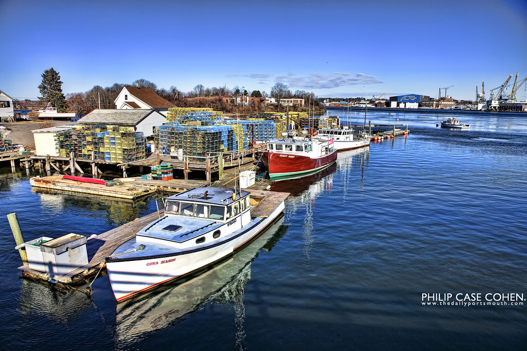 Kittery Point Yacht Club & Portsmouth Naval Shipyard by Philip Case Cohen