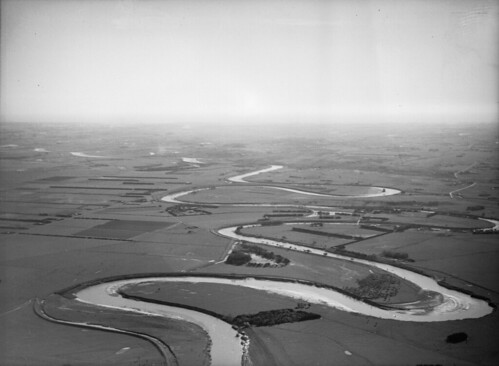 Aerial view of the Manawatu River and surrounding plains, between 1920s-1940s | by National Library NZ on The Commons