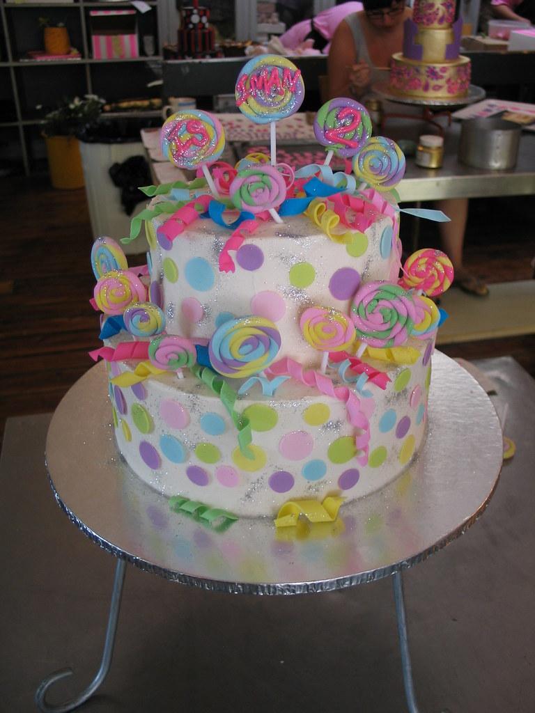 Astounding 2 Tier Polka Dots Lollipop Swirls Birthday Cake 2 Tier P Flickr Birthday Cards Printable Inklcafe Filternl