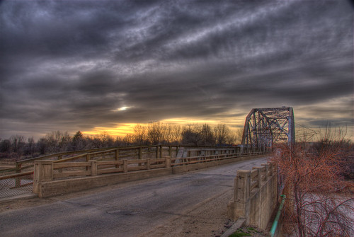 sunset bridge aztec animasriver newmexico 201003 historic clouds sky truss landscape farmington durango colorado best hdr usa travel
