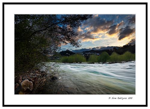 sunset river stream mondego penacova
