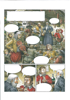 Comic book Sample - A sample for the first page of a comic book about Don Quixote. The story starts when a man comes into an inn, looking for Sancho Panz who is drinking at the bar. | by widdershins3