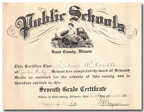Delmar Coulter Seventh Grade Certificate 1928