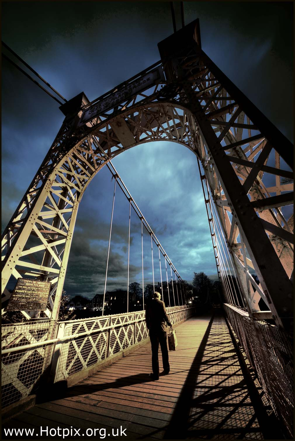 person,bridge,night,dusk,tripod,blue,sky,light,lighting,low,contrast,man,walking,chester,cheshire,uk,britain,wall,walled,city,town,condate,tonysmith,hotpix,hotpixuk,sinister,dramatic,extreme,dark,disturbia,hotpics,hotpic,hotpick,hotpicks,interesting,place,places,abstract,art,arty,architecture,building,buildings,stream,lightstream,famous,bridges,pedestrian,foot,pont,pied,wide,angle,wideangle,lens,sigma,12-24mm,10-20mm,metal,Alamy