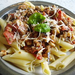 Penne with  Tomatoes, Aubergine and Vegi Cheese