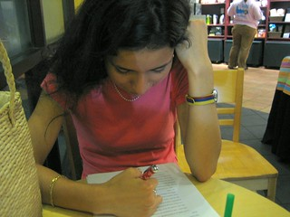 Lina, proofreading my essay. hot. | by b r e n t