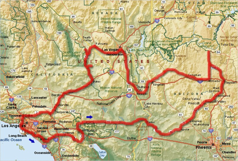 Route map: Arizona, Nevada, California | Map showing our 8-d ...