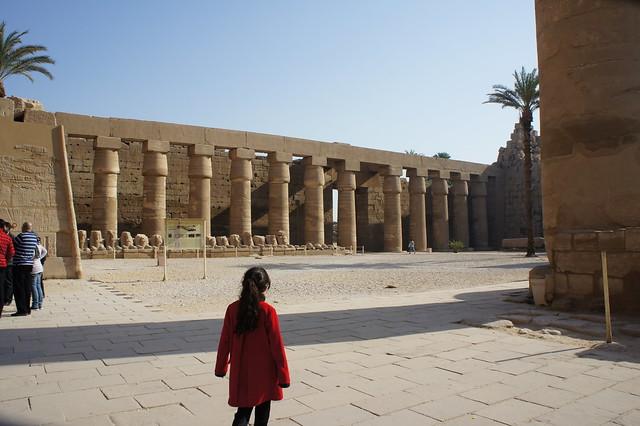 The Ram sphinxes inside Egypt's Karnak temple