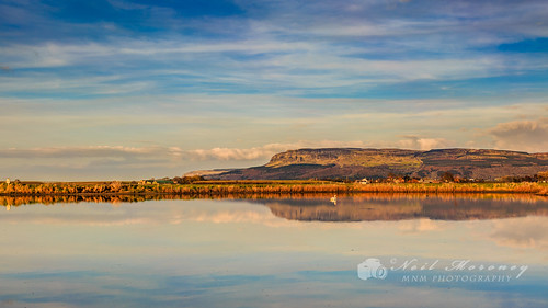 sunset sky water clouds canon reflections landscape swan pond seawall april northernireland horseshoe colourful sunlit ulster limavady 2015 countyderry canon1740f4lusm myroe binevenagh canon5dmkiii binevenaghmountain ballymacran ballymacranbank