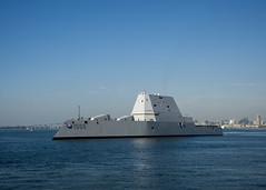 USS Zumwalt (DDG 1000) steams through San Diego Bay, Dec. 8. (U.S. Navy/PO2 Zachary Bell)