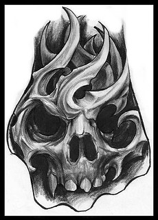 Bio Mechanic Skull Hand Tattoo Sketch Jorge A Gwooki