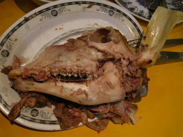 eaten boiled lamb head | the meat tasted kind of jellied | Flickr