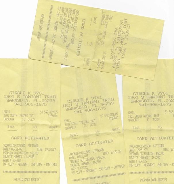 gas gift card receipts | heidikurp | Flickr