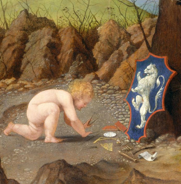 Allegory of Virtue and Vice, detail devices; 1505 - National Gallery of Art