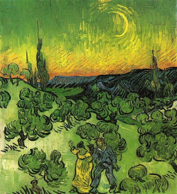 Vincent van Gogh: Landscape with Couple Walking and Crescent Moon (1890)
